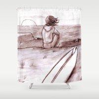 surfing Shower Curtains featuring Surfing by Benjamin Ordaz