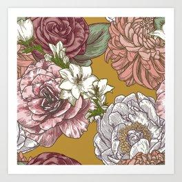 Vintage floral pattern on mustard Art Print