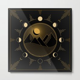 Lunar Phases With Mountains Metal Print