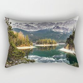 Green Blue Lake, Trees and Mountains Rectangular Pillow