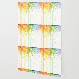 Watercolor Rainbow Splatters Abstract Texture Wallpaper