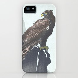 Eagle Sitting on a Cliff - Vintage Japanese Woodblock Print Art iPhone Case