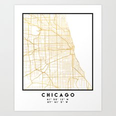 CHICAGO ILLINOIS CITY STREET MAP ART Art Print