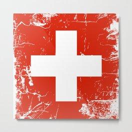 Switzerland flag with grunge effect Metal Print