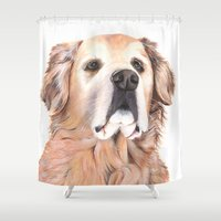 golden retriever Shower Curtains featuring Golden Retriever by LouiseDemasi