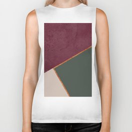 Burgundy Olive Green Gold and Nude Geometric Pattern #society6 #buyart Biker Tank