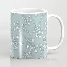 Baby's Breath Flower Pattern - Grey Green Coffee Mug