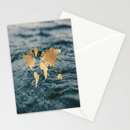 Gold Map in Water Stationery Cards