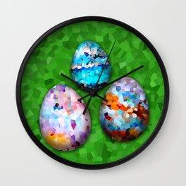 Set colorful easter eggs on white ore green background Wall Clock