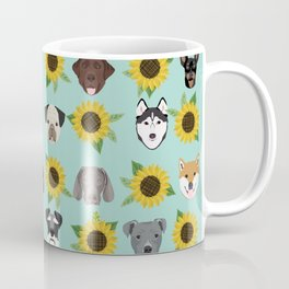 Dogs and cats pet friendly sunflowers animal lover gifts dog breeds cat person Coffee Mug