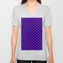 Black and Indigo Violet Checkerboard Unisex V-Neck