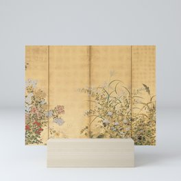 Japanese Edo Period Six-Panel Gold Leaf Screen - Spring and Autumn Flowers Mini Art Print
