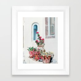Santorini Flowers Framed Art Print