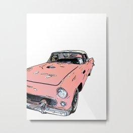 Pink Sports Car Automobile Art by Daniel MacGregor Metal Print