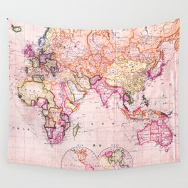 Vintage Map Pattern Wall Tapestry