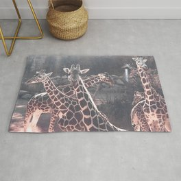 Giraffe Picture // Spotted Long Neck Graceful Creatures in Wildlife Preserve Rug