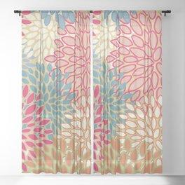 Flower Pattern, Raspberry Red, Lime Green,Teal, Orange Sheer Curtain