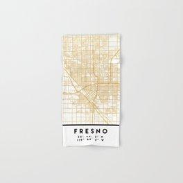 FRESNO CALIFORNIA CITY STREET MAP ART Hand & Bath Towel
