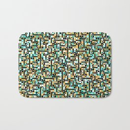 grid in brown and green with shapes Bath Mat
