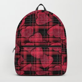 Red hearts, plaid Backpack