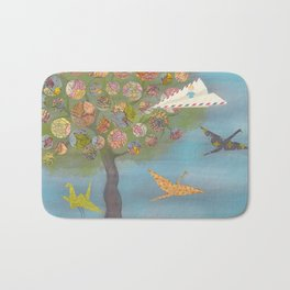 Boy in a Paper Plane flying into the World Map Tree Bath Mat