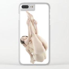 9412-KMA Nude Woman on Mirror Legs Feet Up High Key Fine Art Clear iPhone Case