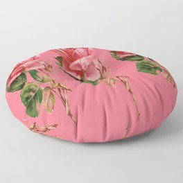 ROSE COLORED ANTIQUE VINTAGE ROSES Floor Pillow