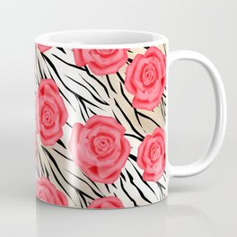 Red roses on a light tiger background . Coffee Mug