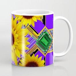 GREEN EMERALDS YELLOW SUNFLOWERS ART Coffee Mug