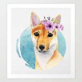 Shiba Inu with Flower Crown Art Print