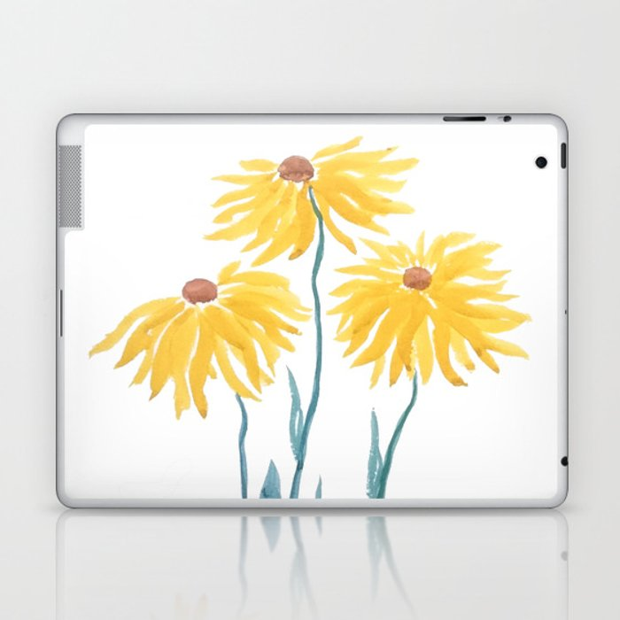 three yellow flowers Laptop & iPad Skin
