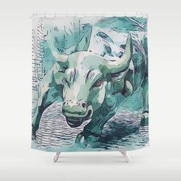 Bull Stock Exchange Bull Market Shares Shareholder Abstract Art Gift Shower Curtain