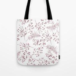 Mauve pink white elegant modern floral Tote Bag