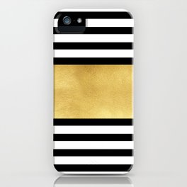 Zebra pattern with golden stripe iPhone Case