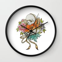 kitsune Wall Clocks featuring Kitsune by Total-Cult