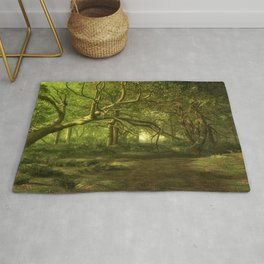 Fantasy Forest Painting Green Wood Rug
