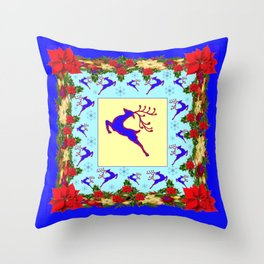 LEAPING DEER POINSETTIAS & SNOWFLAKES BLUE ART CHRISTMAS de Throw Pillow