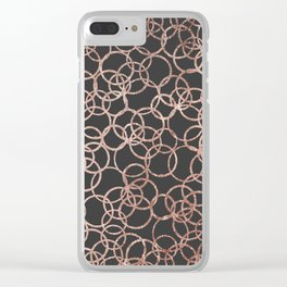 Modern Rose Gold Circles on Charcoal Black Clear iPhone Case