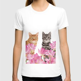 Red and Tiger cat in Lotos Flower Field T-shirt