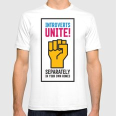 Introverts Unite! White Mens Fitted Tee SMALL
