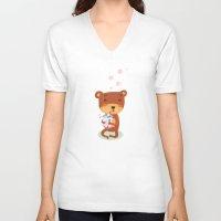 bubbles V-neck T-shirts featuring Bubbles by Villie Karabatzia