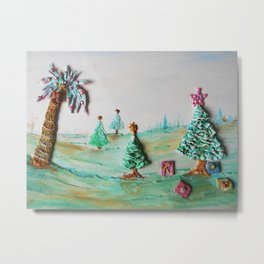 Tropical Christmas Hanukkah Kwanzi Seasonal Winter Wonderland Metal Print
