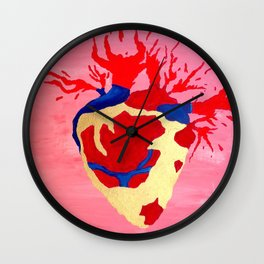 Cool Golden Heart Original Painting On Canvas Wall Clock