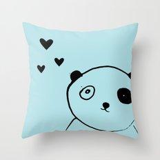 panda blue Throw Pillow