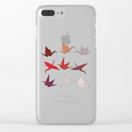 Japanese Origami paper cranes symbol of happiness, luck and longevity, sketch Clear iPhone Case