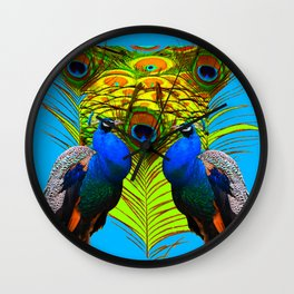BLUE-GREEN PEACOCKS & LIME FEATHERS ART Wall Clock