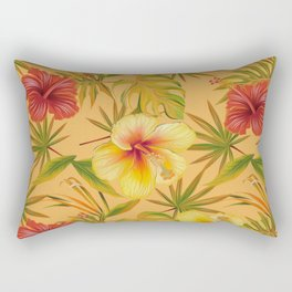 Leave And Flowers Pattern Rectangular Pillow