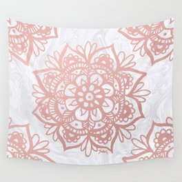 Rose Gold Mandalas on Marble Wall Tapestry