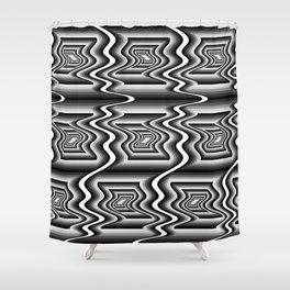 Grey Optical Pattern Shower Curtain