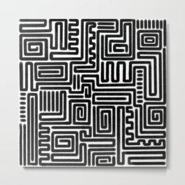 Tribal Maze Pattern (Minimal) Metal Print